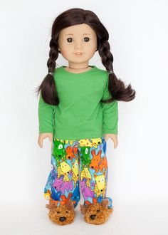 American girl doll pajamas with slippers  by EverydayDollwear