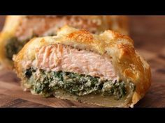 Salmon in Puff Pastry with Dill Sauce – Constantly Cooking Salmon Wellington Recipe, Wellington Food, Salmon Recipes, Fish Recipes, Seafood Recipes, Fish Dishes, Seafood Dishes, Low Carb Vegetarian Recipes, Chicken