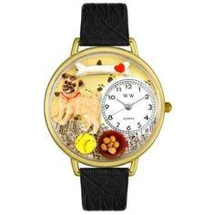 Whimsical Unisex Pug Black Skin Leather Watch