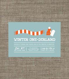 Winter One-derland (Wonderland) 1st Birthday Invitation