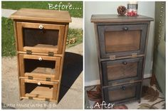 Garage sale find - Side Table Makeover - staining, new wire, and hardware...