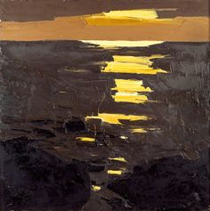 Kyffin Williams, 'Coastal Sunset,' oil on canvas, 76.2 x 76.2 cm, 1970-1990. Collection of The National Library of Wales.