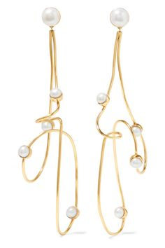 Cornelia Webb - Gold-plated Pearl Earrings - One size Gold Plated Earrings, Rose Gold Earrings, Statement Earrings, Pearl Earrings, Diamond Earrings, Cultured Pearl Necklace, Pearl Jewelry, Bridal Jewelry, Gold Jewelry