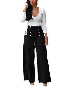 955d0d06f1bc Womens White And Black Long Sleeve Plunge Button Waist Casual Jumpsuit Wide  Pants