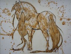 Interesting art, horse painted with coffee!