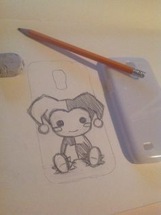 https://www.etsy.com/ca/shop/ViktoriasCreations?ref=si_shop.     Working on a sketch for a lovely costumer! This is too cute ^.^ I cannot express how much I love working on these projects. Harley Quinn Chibi Samsung Deco Den