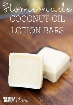 Homemade Coconut Oil Lotion Bars - Moisturize your skin without chemicals and unnatural ingredients by using homemade coconut oil lotion bars. You can customize this easy DIY recipe by substituting your favorite essential oils. These homemade coconut oil Coconut Oil Lotion, Homemade Coconut Oil, Coconut Oil Uses, Coconut Oil Beauty, Homemade Butter, Diy Lotion, Lotion Bars, Diy Beauté, Handmade Soaps