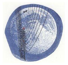 Full Moon Coming - wood engraving - Atsushi Matsuoka 7. 5x7. 5cm