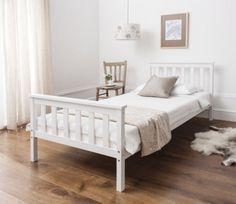 Wooden-Bed-Frame-Single-Size-3ft-White-Bedroom-Furniture-Set-Solid-Pine-Wood