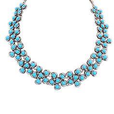 Elegant Petit Plum Flower Statement Necklace for Women Cyan Blue Colors 16 In. Long 1 In. wide Steel Chain Jewelry Etc. http://www.amazon.com/dp/B00OR6UJYU