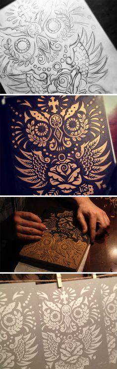 Dribbble - owl-print-process.jpg by Derrick Castle