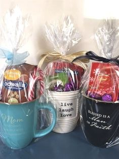 to Make Spa Gift Baskets for Women for All Occasions Gift mugs filled with chocolates, teas or healthy snacks make great gifts for men or women.Gift mugs filled with chocolates, teas or healthy snacks make great gifts for men or women. Gift Baskets For Women, Diy Gift Baskets, Cool Gifts For Women, Basket Gift, Raffle Baskets, Coffee Gift Baskets, Gifts For Ladies, Kitchen Gift Baskets, Small Gifts For Coworkers