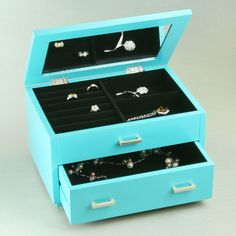 Jewelry Box In Turquoise & Black. Can DIY with a white jewelry box and paint.