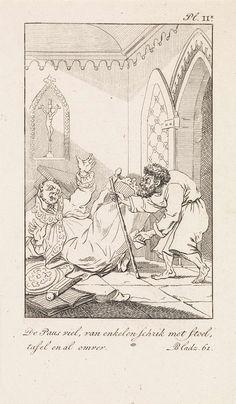 Daniël Veelwaard (I) | Vallende geestelijke en een man met een brief, Daniël Veelwaard (I), Jacob Smies, François Bohn, 1802 - 1809 | Een geestelijke valt met stoel en al om, zijn handen in de lucht. Een man met gebogen rug en een staf en een brief in de hand komt op blote voeten aanlopen. Rechtsboven: Pl. II*. Rechtsonder: Bladz. 61.