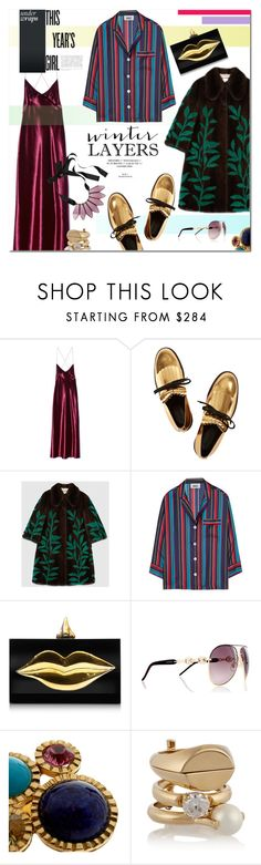 """""""Slip Dress"""" by maris-go-round ❤ liked on Polyvore featuring Marc Jacobs, Marni, Gucci, Sleepy Jones, Charlotte Olympia, Kenneth Jay Lane, Maison Margiela, women's clothing, women's fashion and women"""