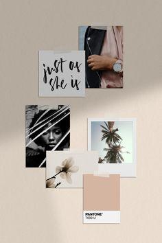 Melrose Semi-Custom Brand by Assimilation Designs - Fashion brand moodboard design by Assimilation Designs. Aesthetic Pastel Wallpaper, Aesthetic Backgrounds, Aesthetic Wallpapers, Beige Aesthetic, Aesthetic Room Decor, Wall Collage, Bedroom Decor, Decoration, Instagram