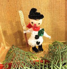 Vintage Spun Cotton Santa and Snowman by VintagePrairieHome