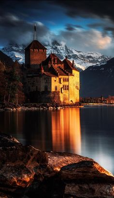 Chateau de Chillon, Lake Geneva by Legends of the Winter (Switzerland) Palaces, Beautiful Castles, Beautiful Places, Lake Geneva Switzerland, Water Reflections, Cool Photos, Places To Go, Travel Photography, Scenery