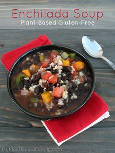 Enchilada Soup that is plant-based and gluten-free. A hearty soup that taste delicious. Perfect for vegans or anyone who likes a good, filling soup.