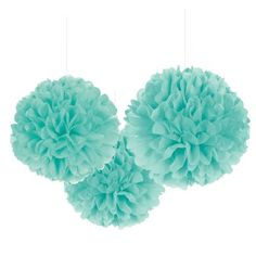 Rounded Robin's Egg Blue Fluffy Decorations are made out of teal tissue paper and include strings for hanging. Display these hanging wedding decorations at a bridal shower or anniversary party! Pom Pom Decorations, Wedding Decorations, Paper Decorations, Tiffany Blue Decorations, Turquoise Decorations, Turquoise Party, Turquoise Accents, Tiffany Theme, Tiffany Blue Party