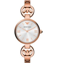Emporio Armani - Ladies Gianni T-Bar Rose Plated Bracelet Watch - RRP: - Online Price: Emporio Armani Ladies Watches, Armani Jewellery, Gold Jewellery, Armani Designer, Armani White, Armani Logo, Ladies Dress Watches, Stainless Steel Jewelry, Watch Brands