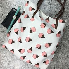 """I scream for ice cream large canvas tote purse  Brand new item! I scream, you scream, we all scream for ice cream!!!  at least I know my kids do! I'm pretty sure my kids are going to think I'm the coolest mom in town when I start sporting this tote around. ☺️ Length: 16"""", Width: 4"""", Height: 14"""", 24"""" with handle. Canvas material. The perfect lightweight 'everyday' tote. Boutique Bags Totes"""