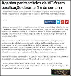 ALEXANDRE GUERREIRO: Agentes penitenciários de MG fazem paralisação dur...