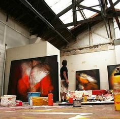 At Work: French painter and visual artist Etienne Gros in his studio in Malakoff, France. (http://www.etiennegros.com/)