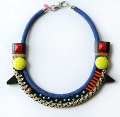 Spikes, polka dots and rope necklace.