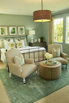 Traditional Green Bedroom. Nightstands, Thomas Pheasant for Baker ...