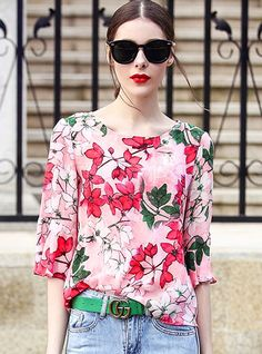Shop for high quality Floral Print Silk Flare Sleeve T-shirt online at cheap prices and discover fashion at Ezpopsy.com