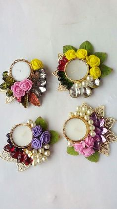 New Wedding Rings Flower Holder 48 Ideas Diwali Diya, Diwali Craft, Diwali Gifts, Diwali Decoration Items, Thali Decoration Ideas, Diwali Candles, Diy Candles, Old Cd Crafts, Recycled Cd Crafts
