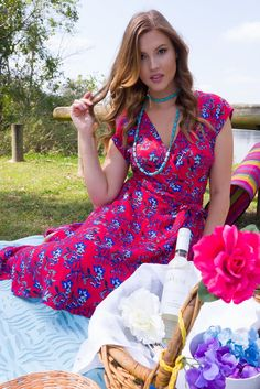 Florist Real Red and Blue Print Retro Wrap Dress – Mombasa Rose