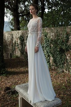 Long sleeves wedding dress with illusion neckline. Berta, Winter 2014