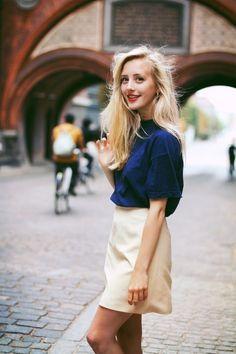 blue top + cream skirt.