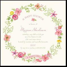 Pretty Wreath garden themed baby shower invitation by Lady Jae Designs for Tiny Prints