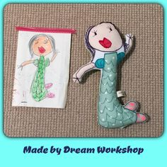 Chloe's a little mermaid. She drew it when she was 4 yrs. This doll is approximately 35cm tall. Handmade craft doll made by Dreamworkshop