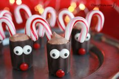 christmas desserts, chocol reindeer, mini hot, holiday dessert, dessert ideas