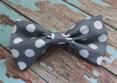 Grey and White Polkadot Hair Bow / Baby Hair bow/ Child hair bow / Toddler hair bow / Adult hair bow.