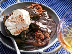 This might be the most decadent recipe to ever come out of the slow cooker. Gooey chocolate cake and irresistible cinnamon whipped cream are a match made in heaven. Crock Pot Desserts, Slow Cooker Desserts, Crock Pot Cooking, Just Desserts, Slow Cooker Recipes, Delicious Desserts, Crockpot Dishes, Recipes With Whipping Cream, Cream Recipes