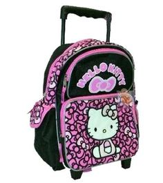 Discount Rolling Backpacks Bags » Hello Kitty Toddler Rolling Backpack  Ribbons Black Pink 1cdf5ccf727ab