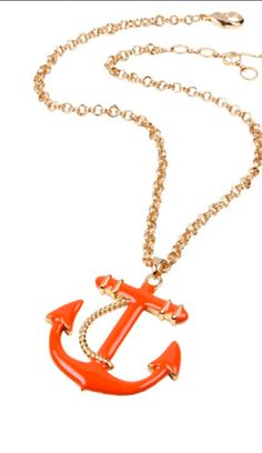 Anchor enamel necklace