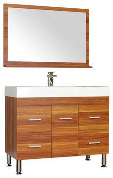 """39"""" Single Modern Bathroom Vanity, Cherry modern-bathroom-vanities-and-sink-consoles"""