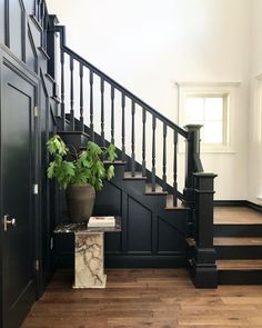 Black Stair Railing, Black Staircase, Staircase Railings, Stairways, Painted Stair Railings, Banisters, Black Painted Stairs, Stair Renovation, Farmhouse Stairs