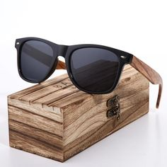 29eac13f399 BARCUR 2018 Black Walnut Sunglasses Wood Polarized Sunglasses Mens Glasses  UV 400 Protection Eyewear in Wooden Original Box