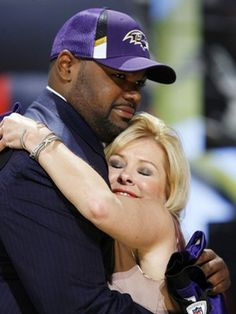 """Michael Oher and his mom, Leanne Touhey.  The subjects of the movie, """"The Blind Side"""""""