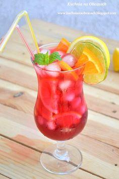 Iced Tea, Hurricane Glass, Beverages, Drinks, Food Photo, I Foods, Lemon, Peach, Tableware