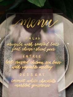 lucite pieces for menus, bar signs, welcome tables or buffets