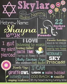 Custom Baby Naming Ceremony Colored Chalkboard Poster/ Invitation - Hebrew - Jewish Baby Naming - Flowers - Baptism - Shabby Chic