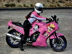 What girl wouldn't want a Powerpuff girls, barbie pink, ninja 250?!....so cute :)